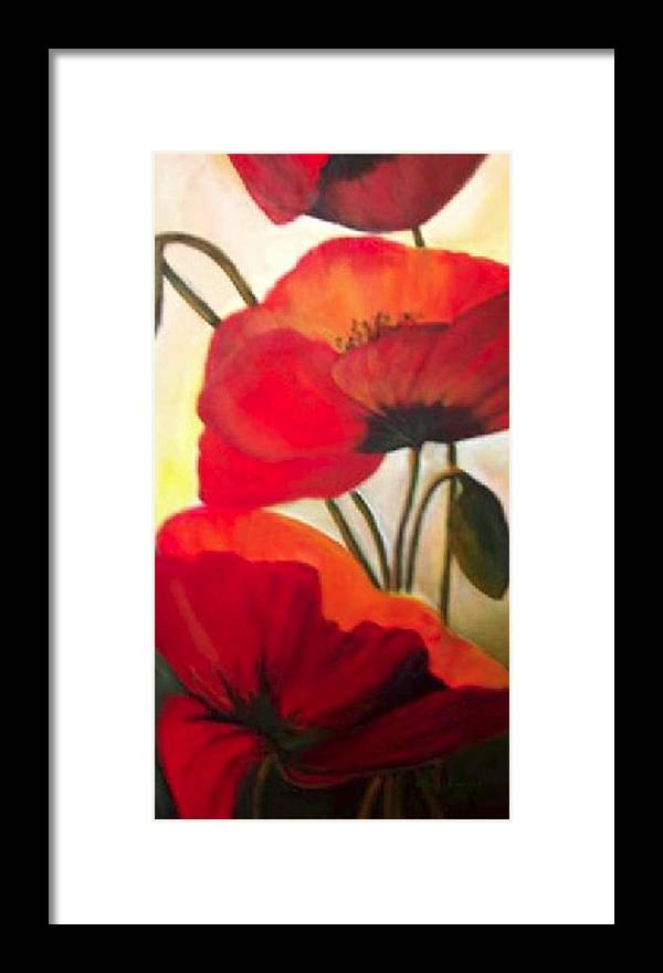 Floral Framed Print featuring the painting Red Poppies by Eileen Kasprick