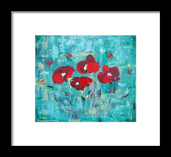 Red Framed Print featuring the painting Red Poppies by Gina De Gorna