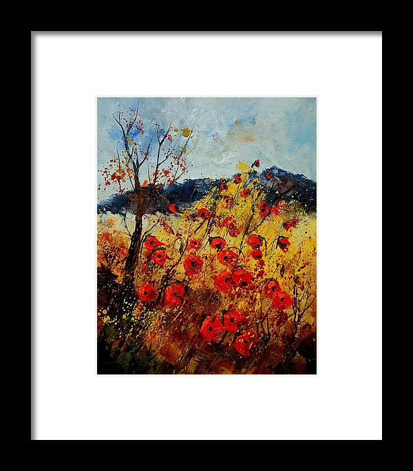 Poppies Framed Print featuring the painting Red Poppies In Provence by Pol Ledent