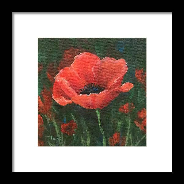 Poppy Framed Print featuring the painting Red Poppy by Torrie Smiley