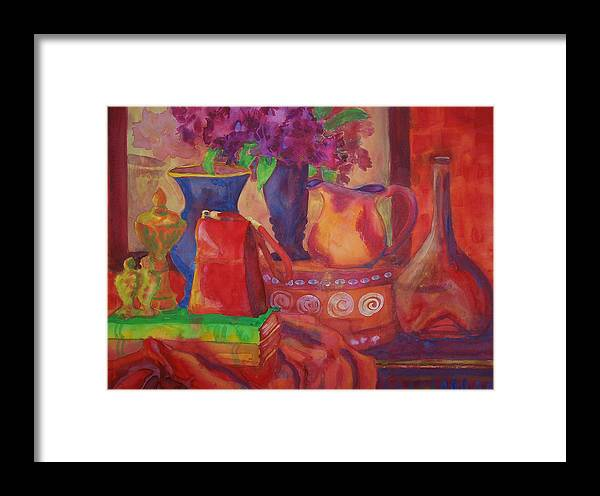 American Framed Print featuring the painting Red Purse On Green Book by Blenda Studio