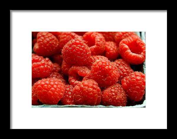 Fruit Stand Framed Print featuring the photograph Red Raspberries by Sonja Anderson