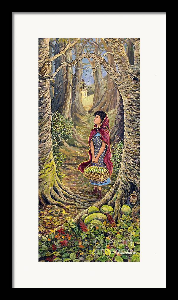 Forest Framed Print featuring the painting Red Riding Hood On The Path To Grama's House by Debbie Dan