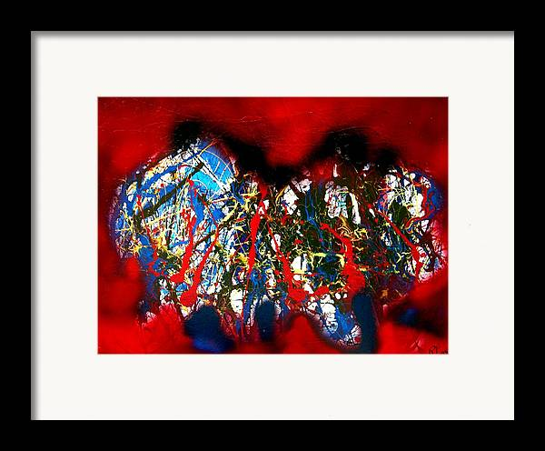 Abstract Framed Print featuring the painting Red Rock 2 by Paul Freidin