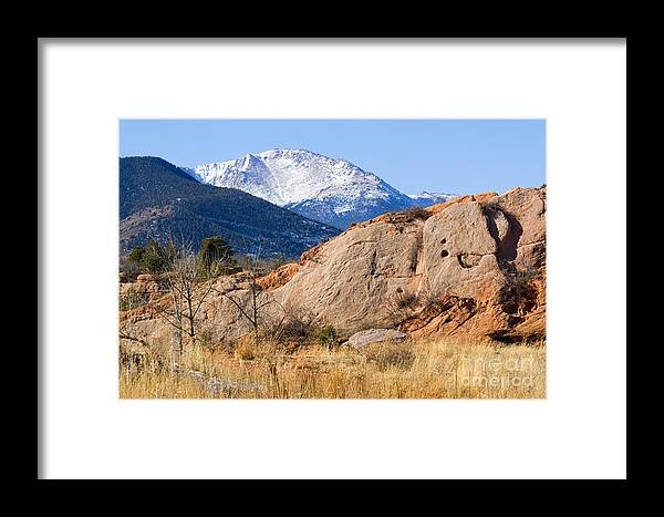 Bikers Framed Print featuring the photograph Red Rock And Pikes Peak by Steve Krull