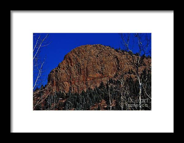 Winter Framed Print featuring the photograph Red Rock Cliff by CL Redding