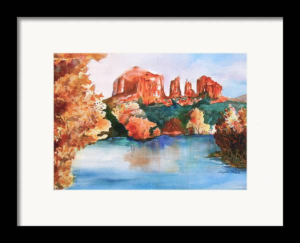 Sharon Mick Framed Print featuring the painting Red Rock Crossing by Sharon Mick