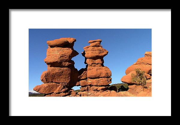Rock Formation Framed Print featuring the digital art Red Rock Formation by Joe Schanzer