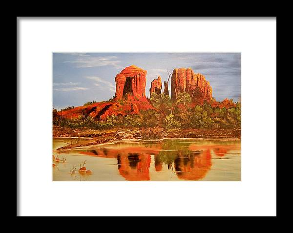 Rocks Framed Print featuring the painting Red Rock by Patrick Trotter