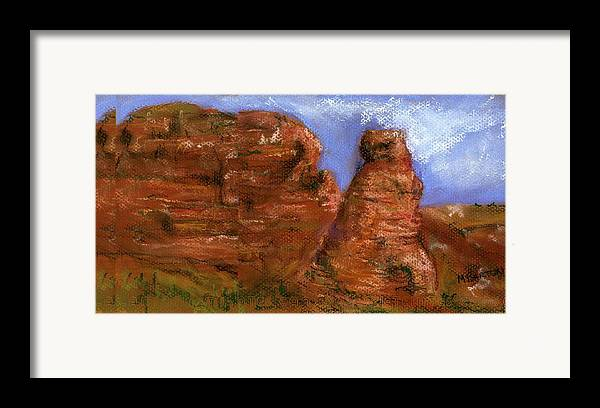 Desert Framed Print featuring the painting Red Rocks by Marilyn Barton