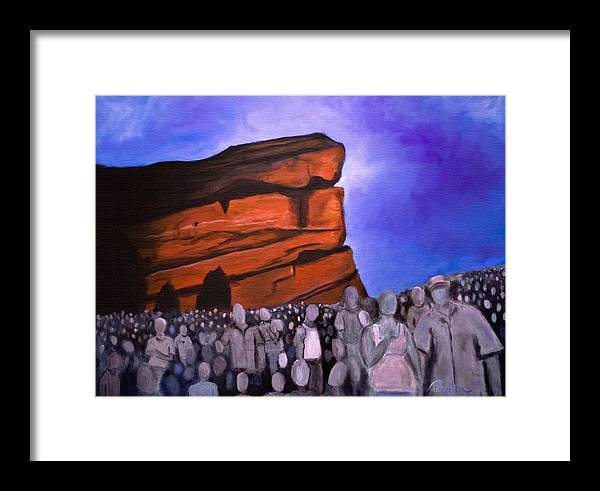 Red Rocks Framed Print featuring the painting Red Rocks by Tabetha Landt-Hastings