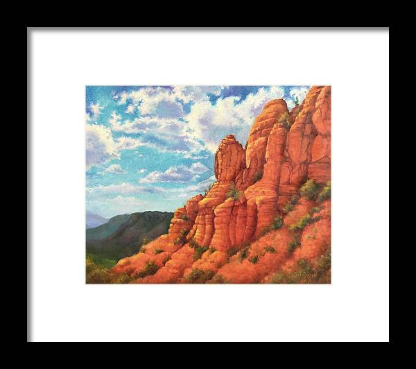 Sedona Framed Print featuring the painting Red Rocks by Teri Rosario