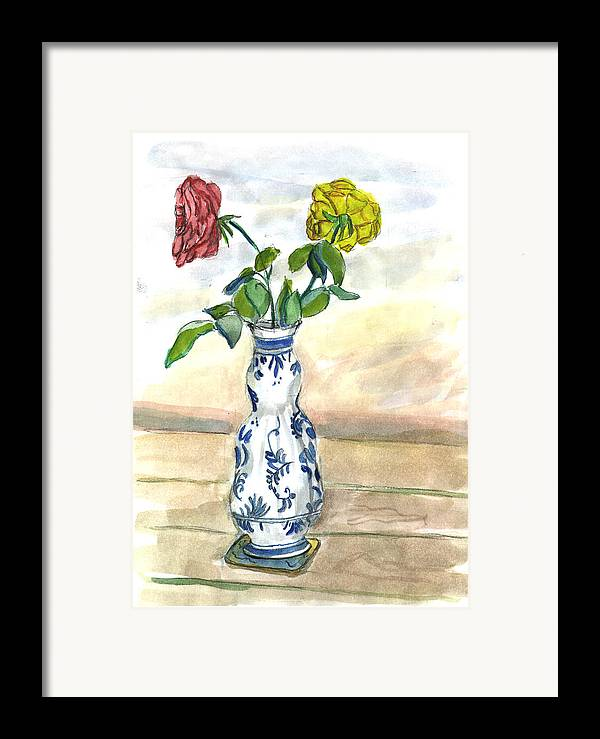 Kevin Callahan Framed Print featuring the painting Red Rose Yellow Rose by Kevin Callahan