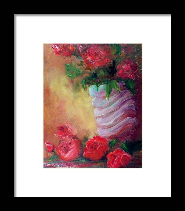Roses Framed Print featuring the painting Red Roses For A Blue Vase by Lynda McDonald