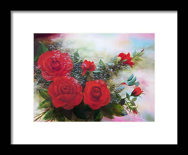 Oil Paintings Framed Print featuring the painting Red Roses by Joni McPherson