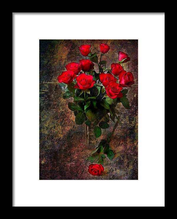 Floral Framed Print featuring the digital art Red Roses by Svetlana Sewell