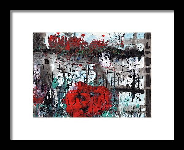 Abstract Framed Print featuring the painting Red Rover Red Rover by Wayne Potrafka
