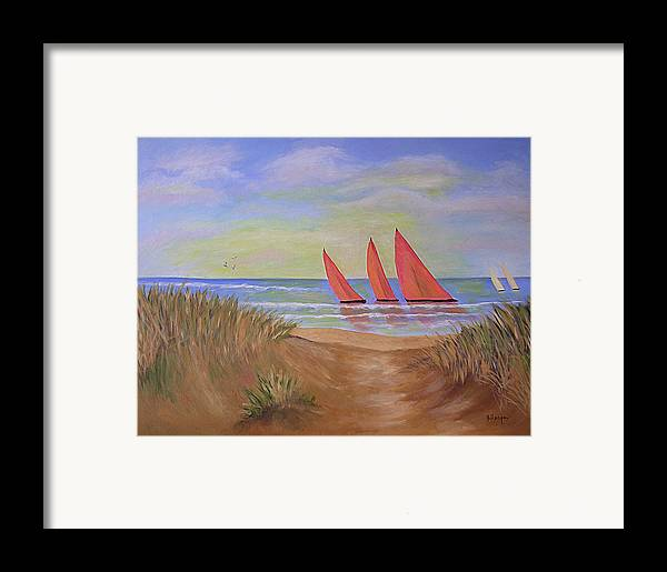 Sails Framed Print featuring the painting Red Sails by Barbara Harper