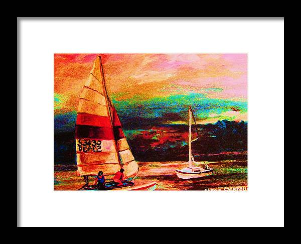 Sailing Framed Print featuring the painting Red Sails In The Sunset by Carole Spandau