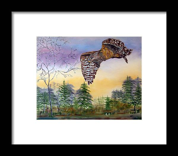 Hawk Framed Print featuring the painting Red Shouldered Hawk by Mikki Alhart