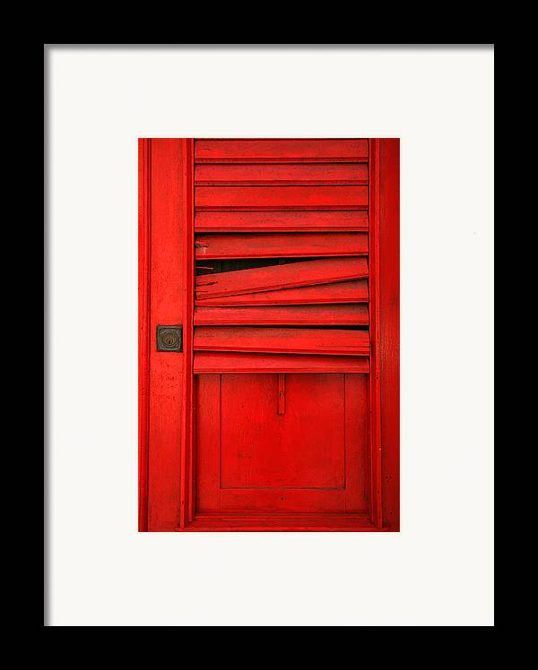 Red Framed Print featuring the photograph Red Shutter by Timothy Johnson