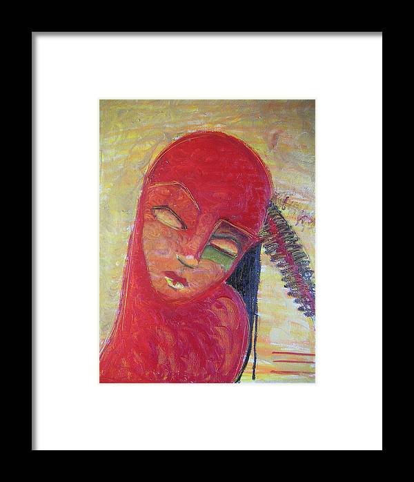 Portrait Framed Print featuring the painting Red Skin by Erika Brown