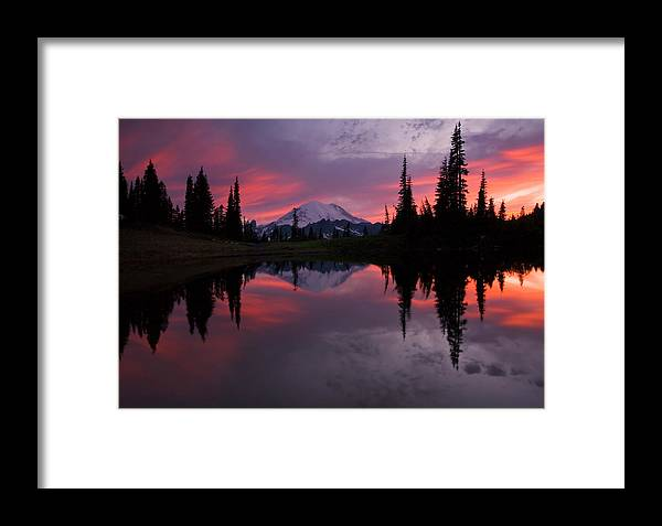 Rainier Framed Print featuring the photograph Red Sky At Night by Mike Dawson