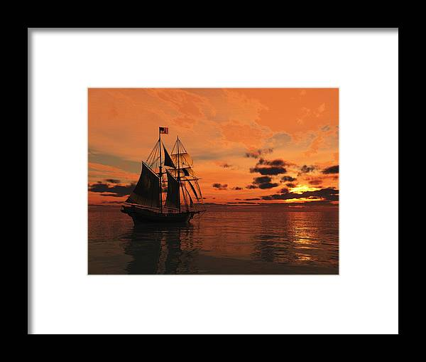Seascape Framed Print featuring the painting Red Sky At Night by Timothy McPherson