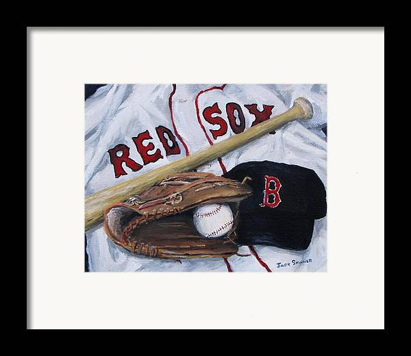 Red Sox Framed Print featuring the painting Red Sox Number Six by Jack Skinner