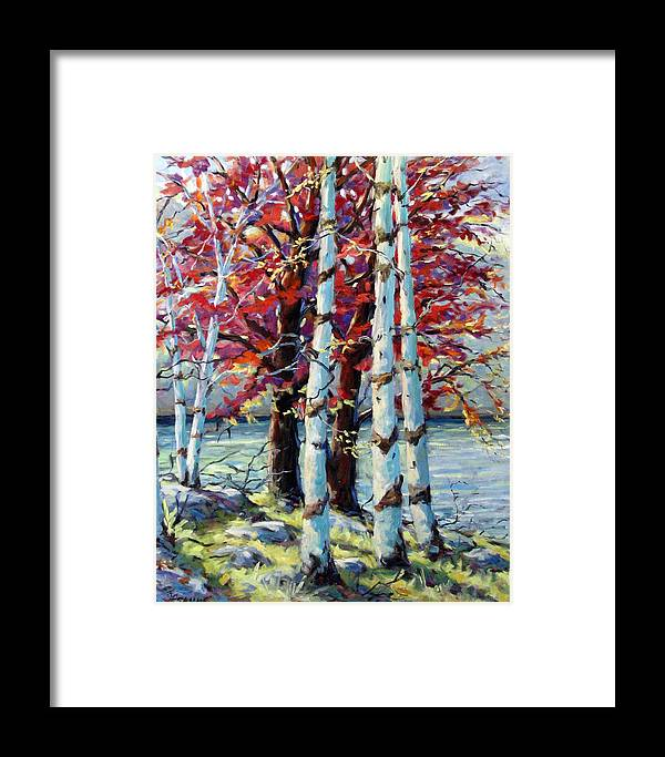 Birches Framed Print featuring the painting Red Splash by Richard T Pranke