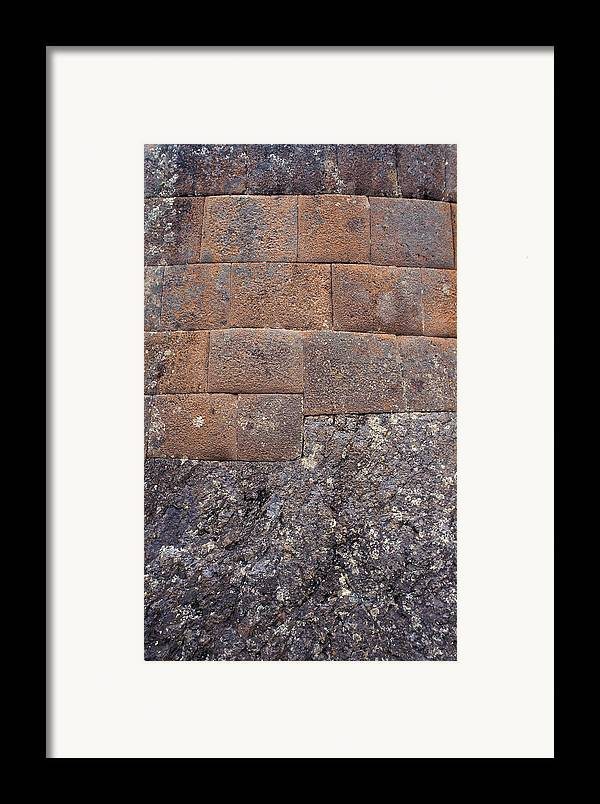 Inca Framed Print featuring the photograph Red Stone Bricks by Marcus Best