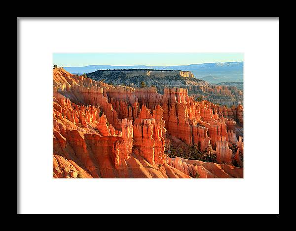 Bryce Framed Print featuring the photograph Red Sunrise Glow On The Hoodoos Of Bryce Canyon by Pierre Leclerc Photography