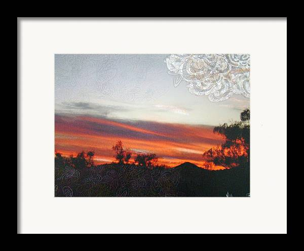 Landscape Framed Print featuring the mixed media Red Sunset One A by Ana Villaronga