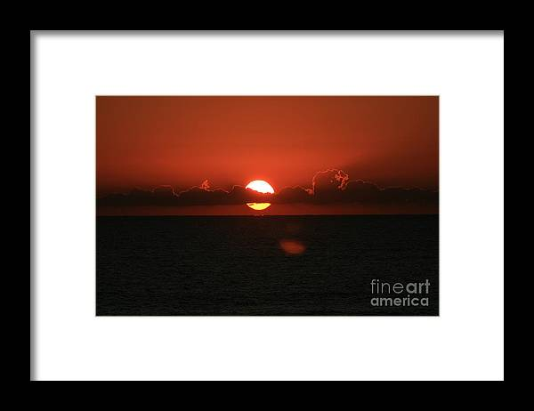 Sunset Framed Print featuring the photograph Red Sunset Over the Atlantic by Nadine Rippelmeyer