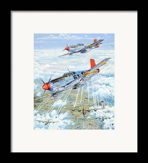 P-51 Framed Print featuring the painting Red Tail 61 by Charles Taylor