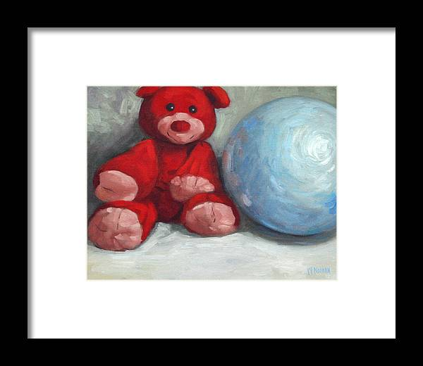 Teddy Bear Framed Print featuring the painting Red Teddy And A Blue Ball by William Noonan