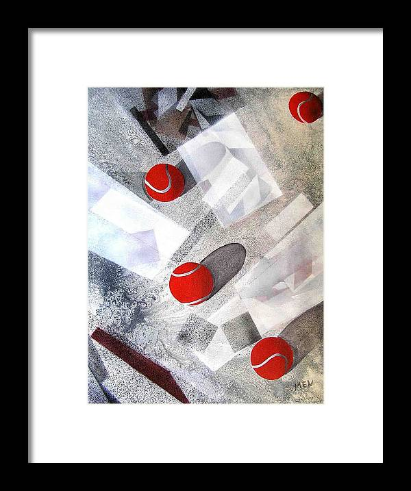 Tennis Balls Framed Print featuring the painting Red Tennis Balls On White Sand by Evguenia Men