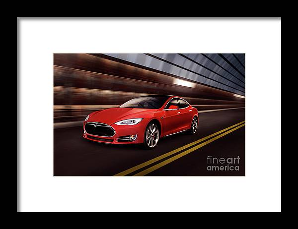 Tesla Framed Print featuring the photograph Red Tesla Model S Red Luxury Electric Car Speeding In A Tunnel by Maxim Images Prints