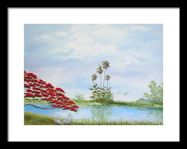 Landscape Framed Print featuring the painting Red Tree by Dennis Vebert