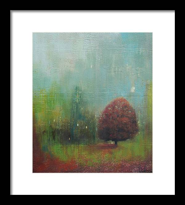Mixed Media Framed Print featuring the painting Red Tree by Joya Paul