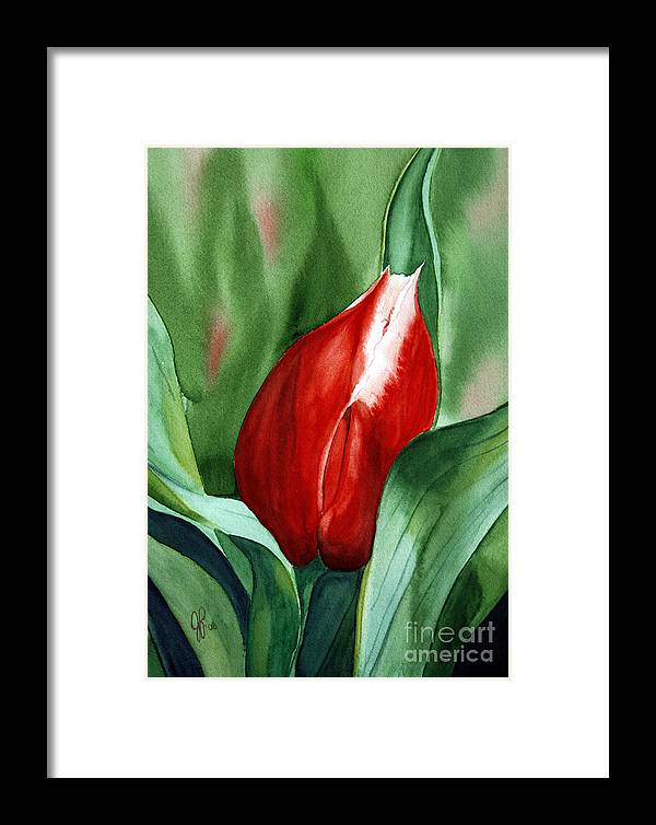 Macro Flower Framed Print featuring the painting Red Tulip 2 by Julie Pflanzer
