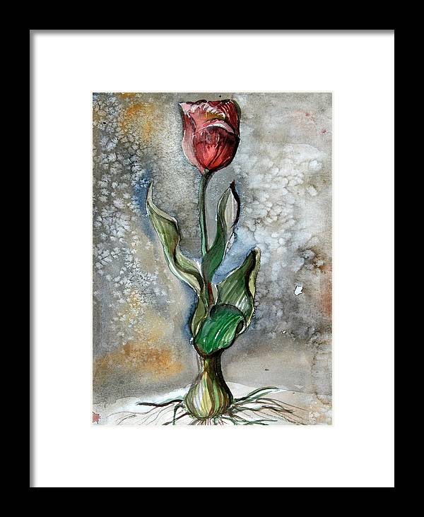 Tulip Framed Print featuring the painting Red Tulip by Mindy Newman