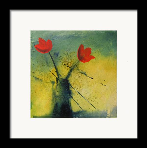 Painting Framed Print featuring the painting Red Tulips by Carrie Allbritton