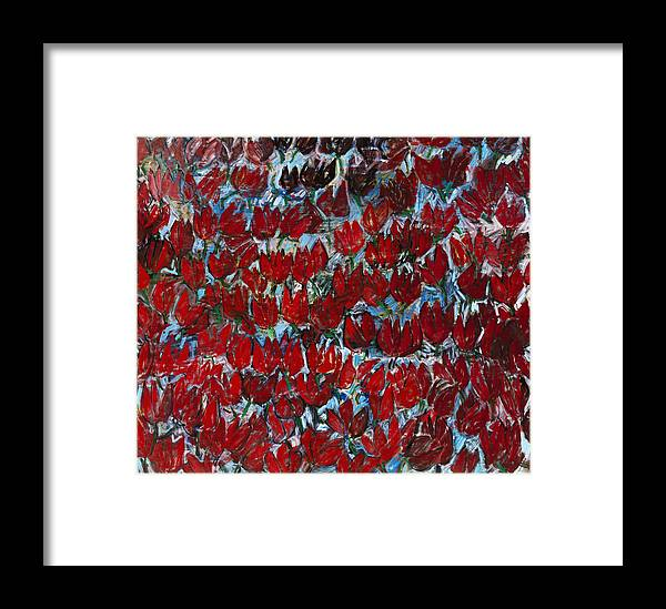 Red Tulips Abstract Flowers Rhythm Blue Green Framed Print featuring the painting Red Tulips by Joan De Bot