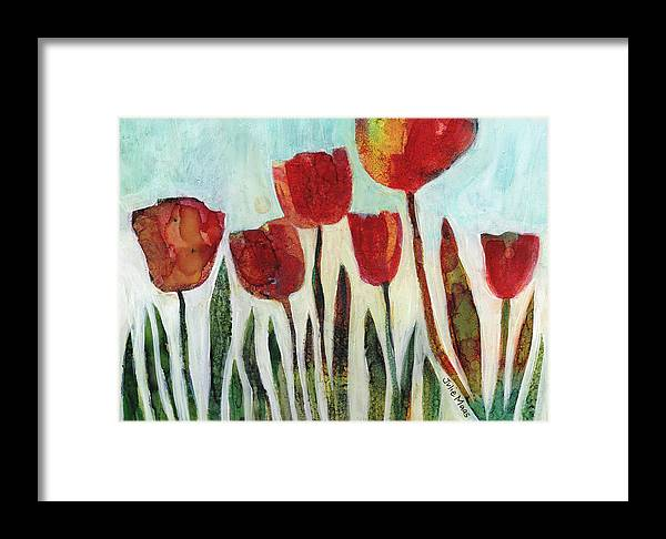 Red Tulips Framed Print featuring the painting Red Tulips by Julie Maas