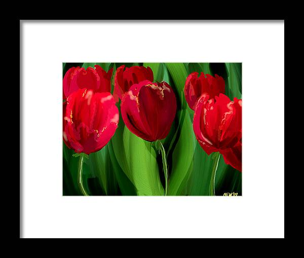Flower Framed Print featuring the digital art Red Tulips by Margaret Wingstedt