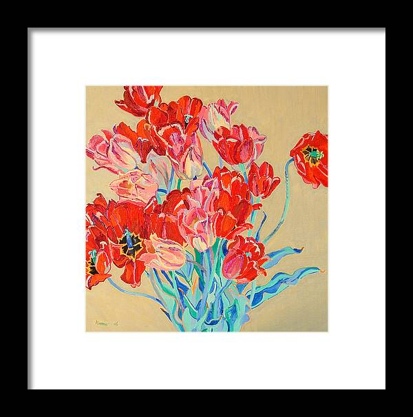 Flowers Framed Print featuring the painting Red Tulips With Gold Background by Vitali Komarov