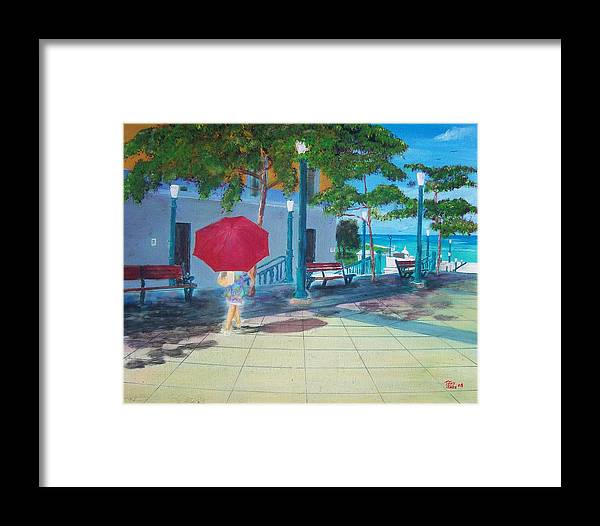 Landscapes Framed Print featuring the painting Red Umbrella In San Juan by Tony Rodriguez