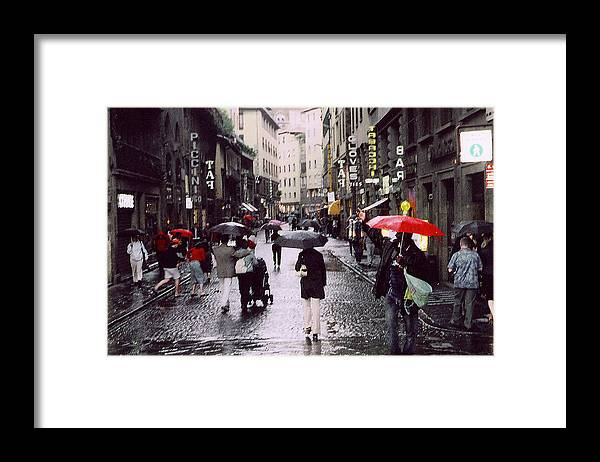 Umbrella Framed Print featuring the photograph Red Umbrella In The Rain by Richard Danek