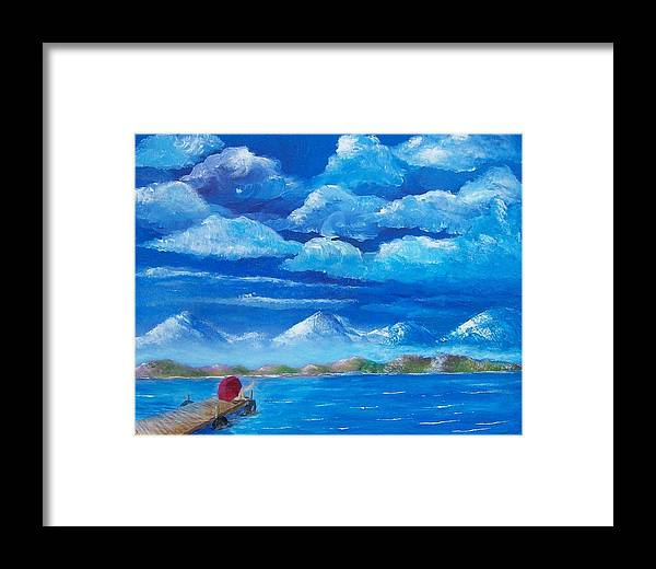 Seascape Framed Print featuring the painting Red Umbrella Iv by Tony Rodriguez